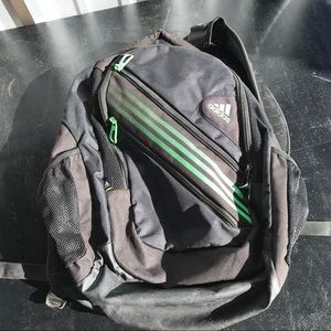 black/green adidas backpack